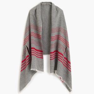 NWT J. Crew black label striped cape scarf onesize